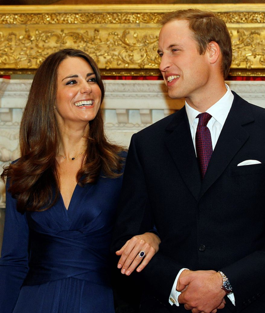 Britain's Prince William and his fiancee, Kate Middleton, pose for the media at St. James's Palace in London after they announced their engagement on Nov. 16. The couple are to wed in 2011. (Associated Press)