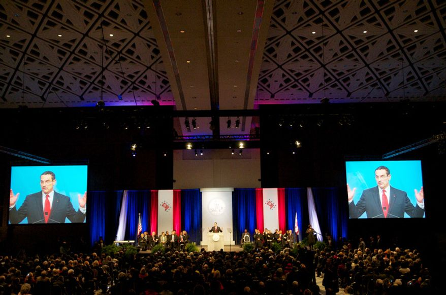 Washington D.C. Mayor Vincent C. Gray delivers his inaugural address after taking the oath of office at the Walter E. Washington Convention Center in Washington D.C., Sunday January 2, 2011.  (Rod Lamkey Jr / for The Washington Times)