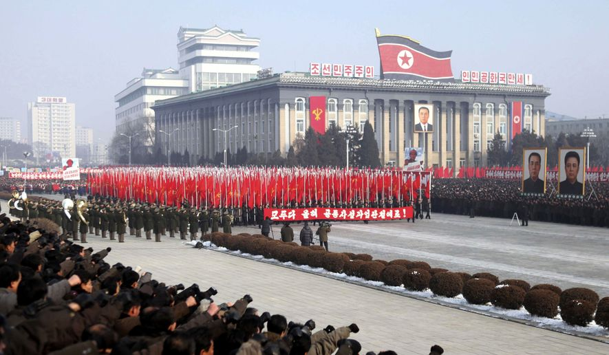 Tens of thousands of North Koreans attend a New Year's rally to display loyalty to leader Kim Jong-il in the central Kim Il-sung Square in Pyongyang, North Korea, on Monday, Jan. 3, 2011. (AP Photo/APTN)