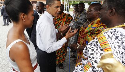 ** FILE ** President Obama and first lady Michelle Obama visit the La General Hospital in Accra, Ghana, on July 11, 2009, during Mr. Obama's only trip to Africa since becoming president. (AP Photo/Haraz N. Ghanbari, File)