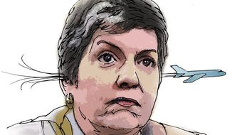 Illustration: Napolitano's TSA by Greg Groesch for The Washington Times