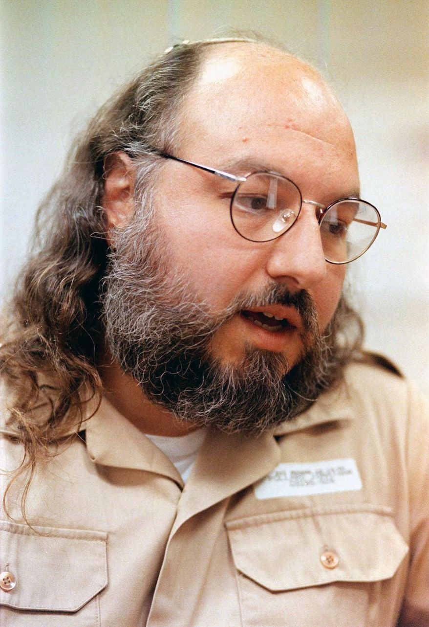 Convicted spy Jonathan Pollard speaks during an interview at the Federal Correction Institution in Butner, N.C, on Friday, May 15, 1998. (AP Photo/Karl DeBlaker)