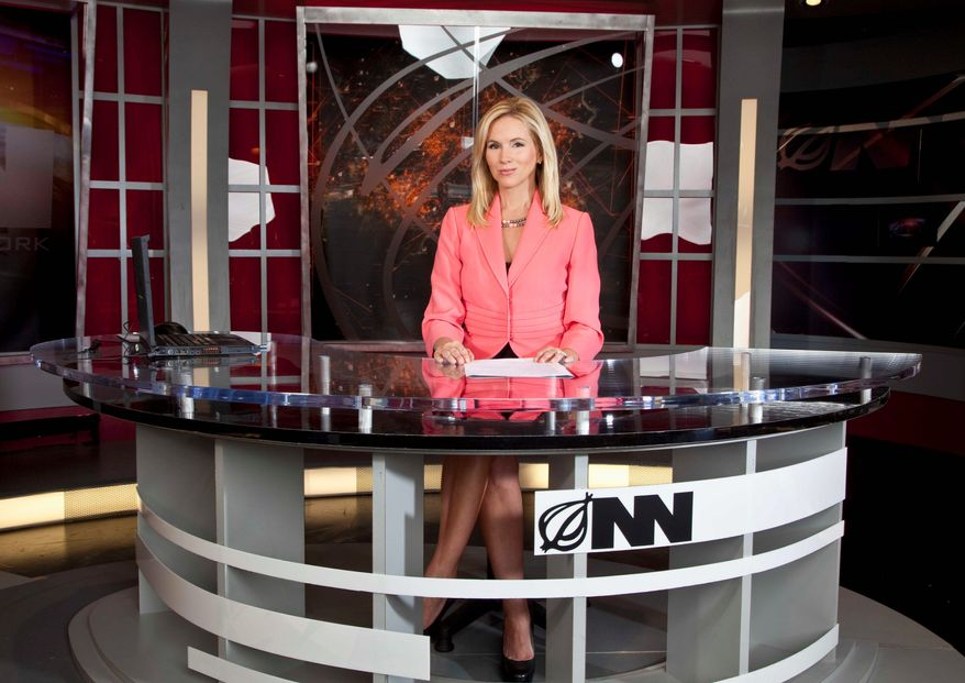 """Brooke Alvarez is the anchor-spoofer on """"Fact Zone"""" on the """"Onion News Network,"""" premiering Jan. 21 on the IFC. Another Onion series, """"Onion SportsDome,"""" starts Tuesday on Comedy Central. (IFC via Associated Press)"""