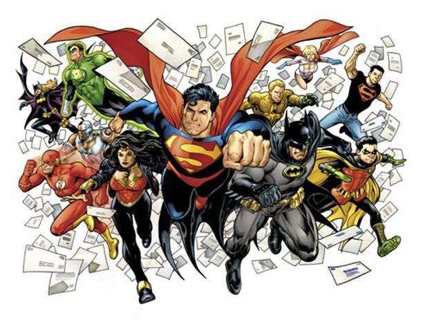 ** FILE ** In this publicity image released by DC Comics, including, front row from left, The Flash, Wonder Woman, Superman, Batman and Robin, back row from left, Batgirl, Cyborg (behind The Flash), Green Lantern, Aquaman, Power Girl and Superboy are shown. (AP Photo/DC Comics)