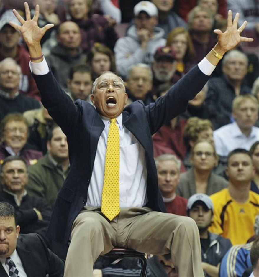 Minnesota coach Tubby Smith yells for his team to get their arms up during the first half of an NCAA college basketball game against Indiana on Tuesday, Jan. 4, 2011, in Minneapolis. Minnesota won 67-63. (AP Photo/Tom Olmscheid)