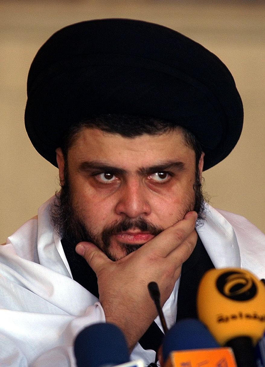 Anti-U.S. Shi'ite cleric Muqtada al-Sadr delivers a Friday sermon in a mosque in Kufa, Iraq, on Sept. 22, 2006. Iraqi officials said Wednesday Jan. 5, 2011, Mr. al-Sadr returned to Iraq after a nearly 3-year absence.(AP Photo/Alaa Al-Marjani, File)