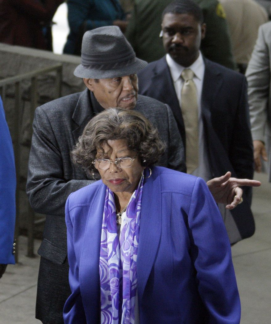 Michael Jackson's parents Joe and Katherine Jackson arrive for the preliminary hearing for Michael Jackson's doctor Conrad Murray, charged in the death of the pop singer, at Los Angeles Superior Court, Wednesday, Jan. 5, 2011. (AP Photo/Reed Saxon)