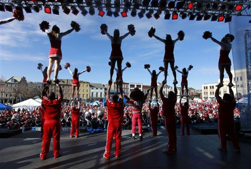 Ohio State cheerleaders and band perform for fans at a pep rally for the upcoming Sugar Bowl  game in New Orleans, Monday, Jan. 3, 2011. (AP Photo/Gerald Herbert)