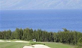 Jonathan Byrd waves on the 18th green during the final round of the Hyundai Tournament of Champions golf tournament in Kapalua, Hawaii on  Sunday, Jan. 9, 2011. Byrd won the tournament on the second playoff hole against Robert Garrigus. (AP Photo/Eric Risberg)