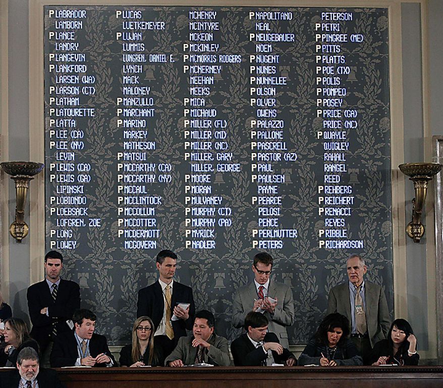 The House's first roll call of the 112th Congress is shown on the tally board on Capitol Hill in Washington, Wednesday, Jan. 5, 2011.  (AP Photo/Charles Dharapak)