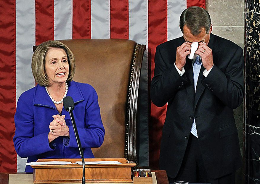 House Speaker-designate John Boehner of Ohio wipes away tears as he waits to receive the gavel from outgoing House Speaker Nancy Pelosi of California during the first session of the 112th Congress, on Capitol Hill in Washington, Wednesday, Jan. 5, 2011.  (AP Photo/Charles Dharapak)