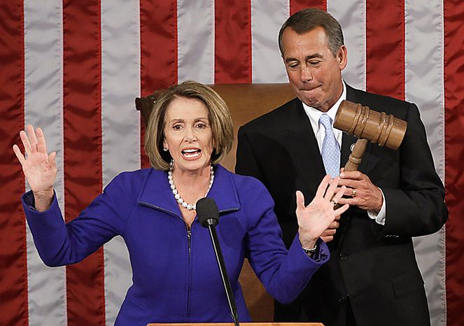 Outgoing House Speaker Nancy Pelosi of California addresses the House after giving newly elected House Speaker John Boehner of Ohio the gavel during the first session of the 112th Congress on Capitol Hill in Washington.  (AP Photo/Charles Dharapak)