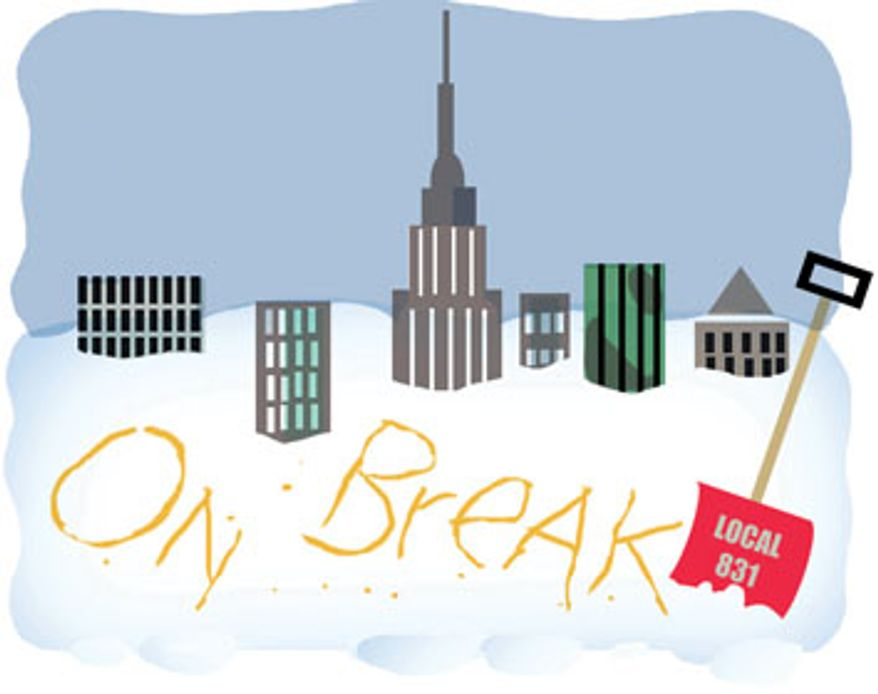 Illustration: Unions on break by Alexander Hunter for The Washington Times
