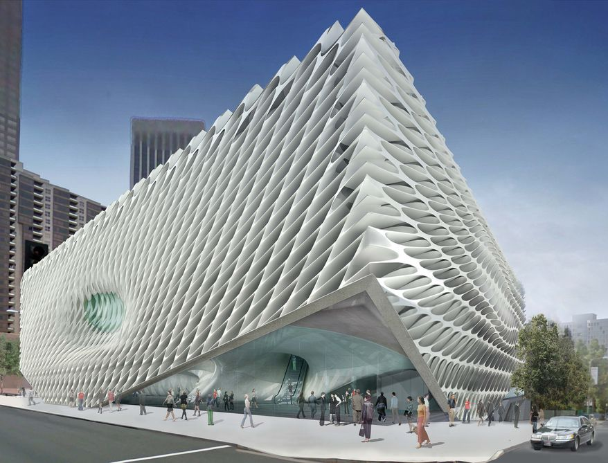 This architectural rendering by Diller Scofidio and Renfro, released, on Thursday, Jan. 6, 2011, by the Broad Art Foundation shows the $130 million, museum billionaire Eli Broad plans to build on Bunker Hill in downtown Los Angeles. Broad's planned contemporary art museum, which will showcase his 2,000-piece collection that includes works by Salvador Dali and Joan Miro, is a three-story, $130 million honeycomb structure that will be known simply as Broad. (AP Photo/Diller Scofidio + Renfro via Broad Art Foundation)