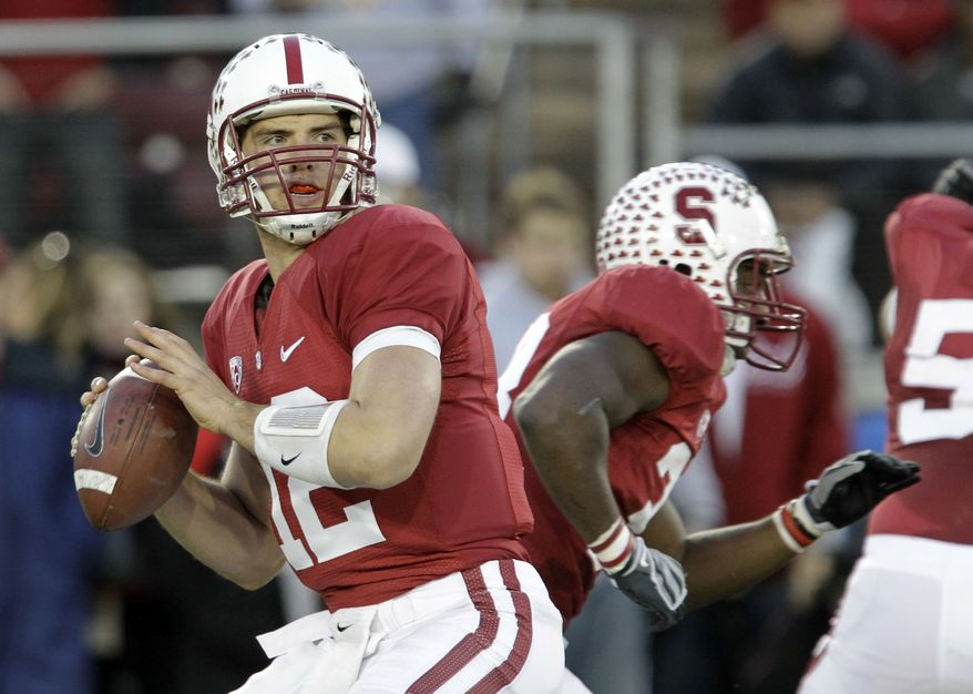 FILE - In this Nov. 27, 2010, file photo, Stanford quarterback Andrew Luck looks to pass during the first quarter of an NCAA college football game in Stanford, Calif. Luck is among the four finalists for the Heisman Trophy. (AP Photo/Paul Sakuma, File)