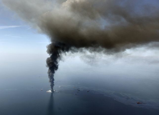 The Deepwater Horizon oil rig burns in the Gulf of Mexico on April 21, 201