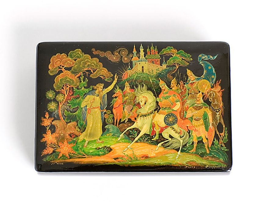 Lacquerware has been produced in Russia since 1721, and often portrays fairy tales or folk scenes.  It is hand-painted and covered with as many as 10 coats of lacquer, then polished to a brilliant shine.  This box was a gift to Ronald Reagan from Yuri Dubinin, the ambassador of the Soviet Union in 1987. Photo: National Archives, Ronald Reagan Presidential Library and Museum