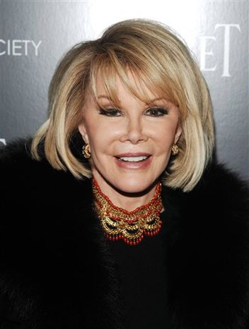 "FILE - In this Dec. 13, 2010 file photo, comedian Joan Rivers attends a Cinema Society screening of ""Blue Valentine"" in New York. (AP Photo/Peter Kr"
