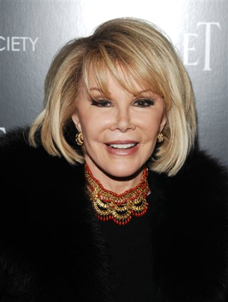 """FILE - In this Dec. 13, 2010 file photo, comedian Joan Rivers attends a Cinema Society screening of """"Blue Valentine"""" in New York. (AP Photo/Peter Kramer, file)"""