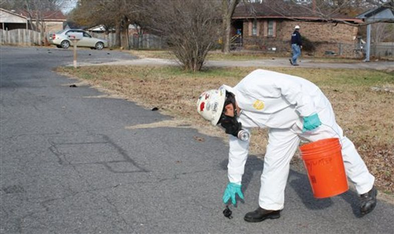 FILE - In this Jan. 1, 2011 file photo, a worker with U.S. Environmental Services, a private contractor, picks up a dead bird in Beebe, Ark. where more than 3,000 dead black birds fell from the sky on New Year's Eve. Some saw the event and other recent wildlife die-offs as real signs as something sinister, either biblical or environmental. The reality, say biologists, is that they happen all the time. (AP Photo/The Daily Citizen, Warren Watkins, File)