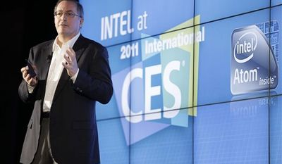 Intel CEO Paul Otellini talks about the next generation graphics microprocessor combo chips at a news conference during the Consumer Electronics Show Wednesday, Jan. 5, 2011 in Las Vegas. (AP Photo/Julie Jacobson)