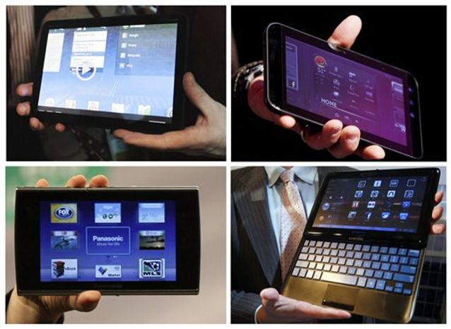 This combination of four photos shows four new tablet devices being presented this week at the 2011 Consumer Electronics Show in Las, Vegas. They are, clockwise from the upper left corner: the Motorola Xoom tablet, the Dell Streak 7 4G tablet, Panasonic's Viera Tablet, and the Samsung 7 Series sliding PC. (AP Photo/Julie Jacobson, (first and third photos), Isaac Brekken, (second and fouth).