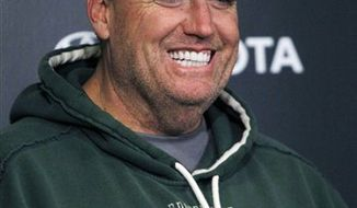 New York Jets coach Rex Ryan answers a question during an NFL football news conference, Tuesday, Jan. 4, 2011, in Florham Park, N.J. The Jets are scheduled to play the Indianapolis Colts in a playoff game on Saturday, Jan. 8 in Indianapolis. (AP Photo/Mel Evans)