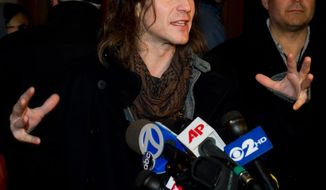 "Injured stuntman Christopher Tierney answers questions from the media before attending a performance of ""Spider-Man: Turn Off the Dark"" in New York on Friday, Jan. 7, 2011. (AP Photo/Charles Sykes)"