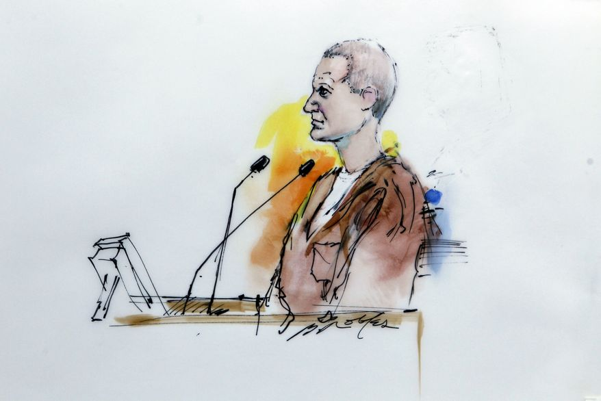 In this artist rendering, Jared Lee Loughner makes his first court appearance at the Sandra Day O'Connor United States Courthouse in Phoenix, Ariz., Monday, Jan. 10, 2011. Loughner appeared in federal court on charges he tried to assassinate Rep. Gabrielle Giffords in a shooting rampage that left six people dead. (AP Photo/Bill Robles)