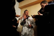 Dr. Peter Rhee, chief trauma and critical care surgeon at University Medical Center in Tucson, describes in more detail to reporters Tuesday the gunshot wound sustained by Arizona Democratic Rep. Gabrielle Giffords. (Associated Press)