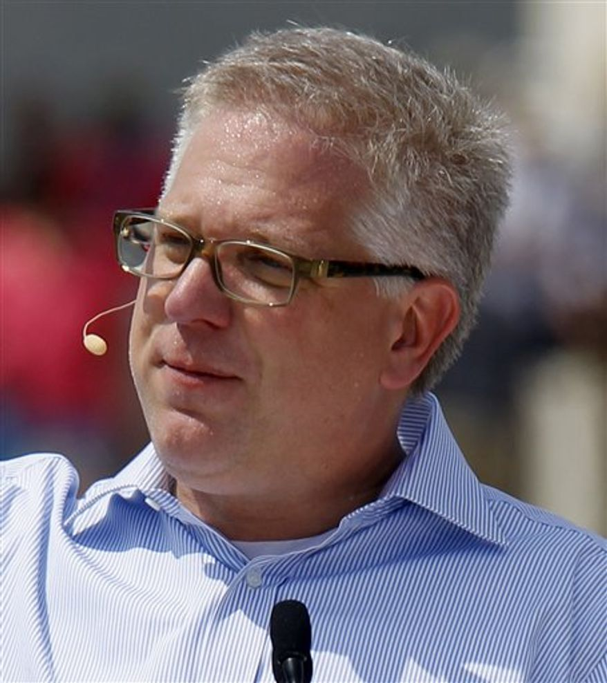 """FILE - In this Aug. 28, 2010 file photo, conservative talk show host Glenn Beck speaks at the """"Restoring Honor"""" rally in front of the Lincoln Memorial in Washington.(AP Photo/Alex Brandon, file)"""