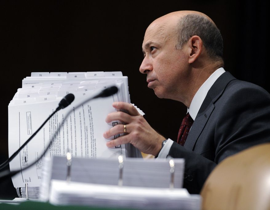 Goldman Sachs Chairman and Chief Executive Officer Lloyd Blankfein testifies before the Senate subcommittee on investigations hearing on Wall Street investment banks and the financial crisis on Capitol Hill in Washington on April 27, 2010. (AP Photo/Susan Walsh, File)
