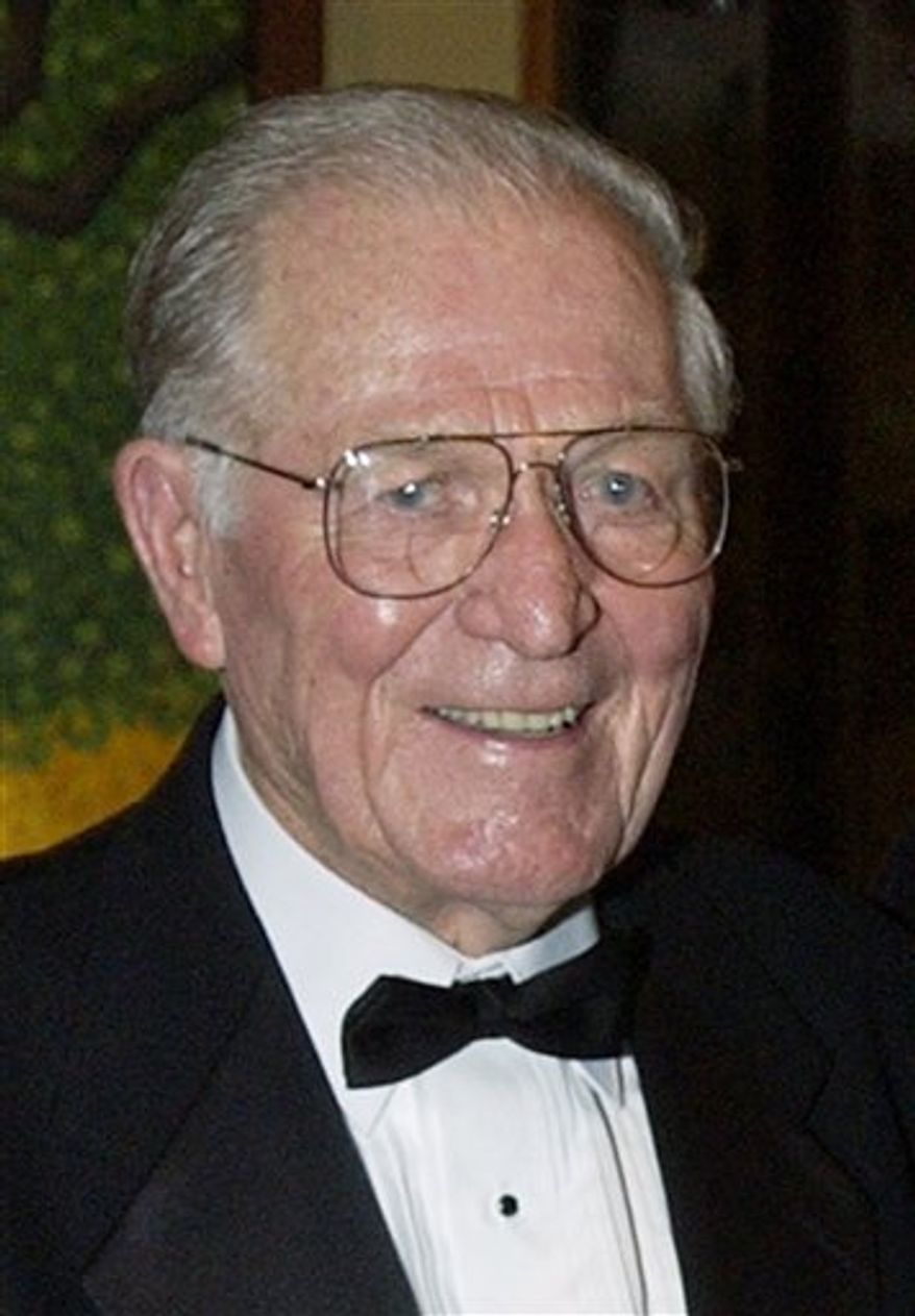 """FILE - Maj. Richard """"Dick"""" Winters is seen in Sept. 22, 2002 file photo. Winters died Jan. 2, 2011 in central Pennsylvania, a family friend confirmed Monday, Jan. 10, 2011. Winters, was the man whose quiet leadership was chronicled in the book and television miniseries """"Band of Brothers."""" He was 92.  (AP Photo/Laura Rauch, File)"""