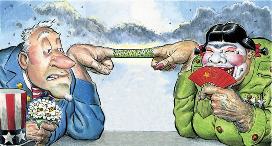 Illustration: China cuffs by Alexander Hunter for The Washington Times