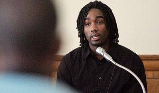 Former University of Iowa football player Abe Satterfield testifies Wednesday in Iowa City during the sexual assault trial of his former teammate Cedric Everson. (Associated Press)