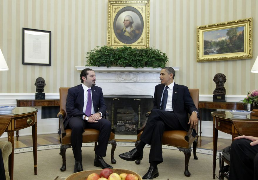 President Obama meets with Lebanese Prime Minister Saad Hariri on Wednesday, Jan. 12, 2011, in the Oval Office of the White House in Washington. (AP Photo/Charles Dharapak)