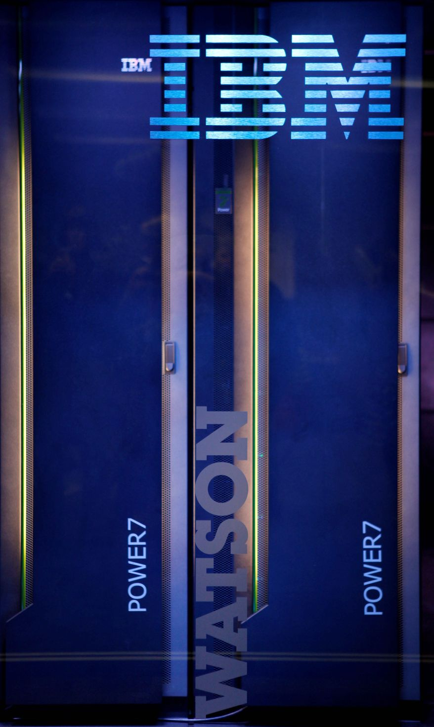 "The hardware for an IBM computer called ""Watson"" is seen after a practice round of the ""Jeopardy!"" The size of 10 refrigerators, ""Watson"" bested its human rivals. (Associated Press)"