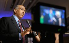 Republican National Committee Chairman Michael S. Steele is being urged to step aside after the first balloting Friday and save face. He is in a five-way contest in his fight to remain chairman for another two years. (Associated Press)