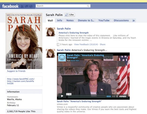 This image taken from Facebook.com on Wednesday, Jan. 12, 2011, shows the Facebook page of former Alaska Gov. Sarah Palin. A nearly eight-minute video was posted on her page early Wednesday, accusing journalists and pundits of inciting hatred and violence in the wake of a deadly Arizona shooting that gravely wounded a U.S. congresswoman. (AP Photo/Facebook.com)