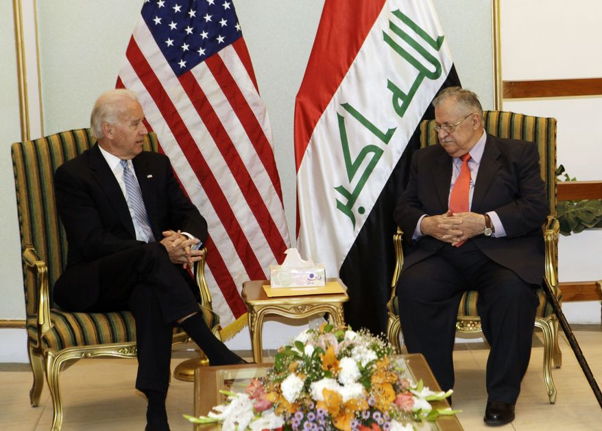 Vice President Joseph R. Biden Jr. (left) meets with Iraqi President Jalal Talabani in Baghdad on Thursday, Jan. 13, 2011. Mr. Biden arrived in Iraq earlier in the day for talks with the new government's leaders about the future of American troops in the country as they prepare to leave at year's end. (AP Photo/Maya Alleruzzo)