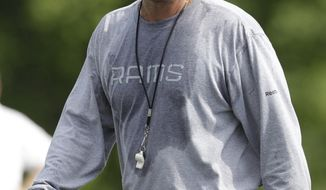 ** FILE ** This July 31, 2010, file photo shows St. Louis Rams offensive coordinator Pat Shurmur during NFL football training camp at the team's training facility, in St. Louis. The Cleveland Browns could have a new coach in hours. The team is in talks with Shurmur to succeed Eric Mangini and become its fifth coach since 1999. Shurmur's agent, Bob LaMonte, arrived at team headquarters Thursday, Jan. 13, 2011, to negotiate with Browns President Mike Holmgren, who just happens to be one of his clients. (AP Photo/Jeff Roberson, File)