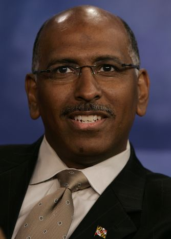 Republican National Committee Chairman Michael Steele answers a question during a debate in Arlington, Va., on Oct. 25, 2006. (AP Photo/Chris Gardner,