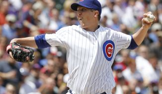 FILE-This May 14, 2010 file photo shows Chicago Cubs starter Tom Gorzelanny delivering a pitch against the Pittsburgh Pirates during the first inning of a baseball game in Chicago. The Cubs have agreed Monday Jan. 17, 2011 to trade Gorzelanny to the Washington Nationals for prospects. (AP Photo/Nam Y. Huh,File)