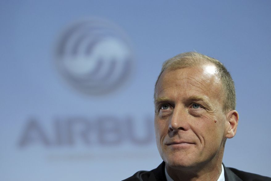 Airbus CEO Tom Enders listens during Airbus' annual press conference in Toulouse, France, on Monday, Jan. 17, 2011. Airbus said it took in 574 net new aircraft orders last year, beating rival Boeing Co. for the third year running as the international aviation market rebounded more strongly than expected from the steepest drop in its history. (AP Photo/Manuel Blondeau)