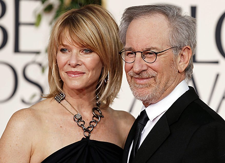 Steven Spielberg and Kate Capshaw arrive at the Golden Globe Awards Sunday, Jan. 16, 2011, in Beverly Hills, Calif. (AP Photo/Matt Sayles)