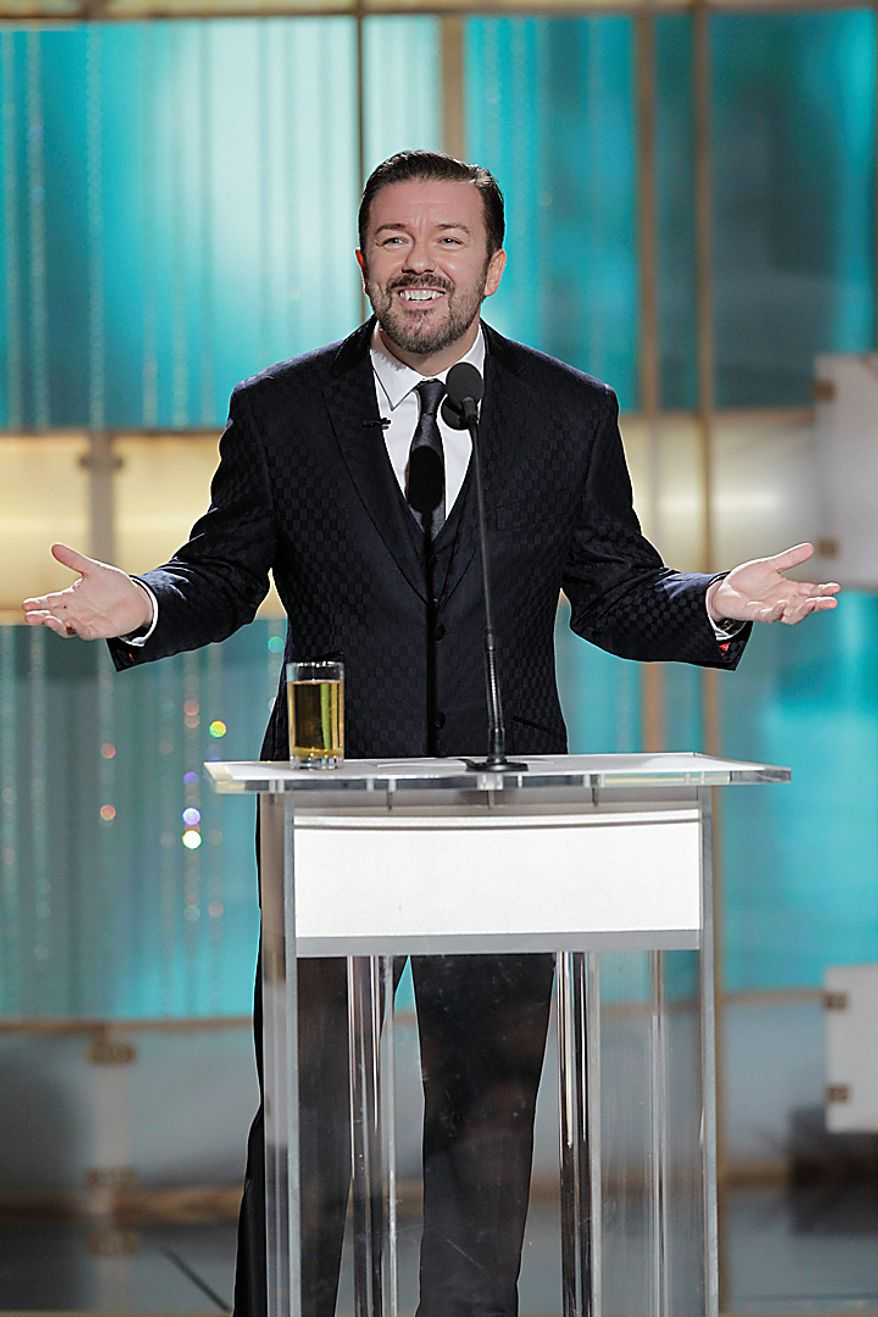 Host Ricky Gervais is shown during the 68th Annual Golden Globe Awards, Sunday, Jan. 16, 2011 in Beverly Hills, Calif. (AP Photo/NBC, Paul Drinkwater)