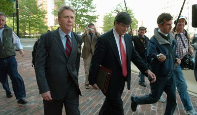 Lawrence A. Franklin, a Pentagon analyst (left), pleaded guilty in 2006 to three counts of mishandling classified information. The case involved the American Israel Public Affairs Committee (AIPAC). (Associated Press)