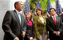 House Speaker John A. Boehner arrives for a news conference before Wednesday's House passage of a bill to repeal the health care law. With him (from left) are Reps. Nan Hayworth and Cathy McMorris Rodgers and House Majority Leader Eric Cantor. (Associated Press)