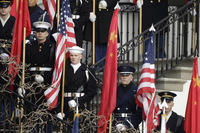An honor guard stands at attention before a state arrival ceremony for Chinese President Hu Jintao, Wednesday, Jan. 19, 2011, on the South Lawn of the White House in Washington. (AP Photo/Charles Dharapak)
