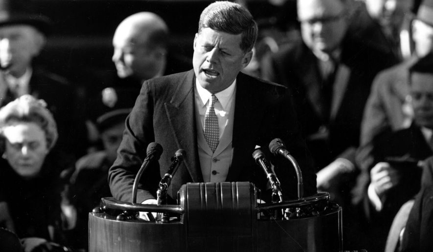 **FILE** President John F. Kennedy delivers his inaugural address after taking the oath of office at Capitol Hill in Washington, D.C., on  Jan. 20, 1961. (Associated Press)